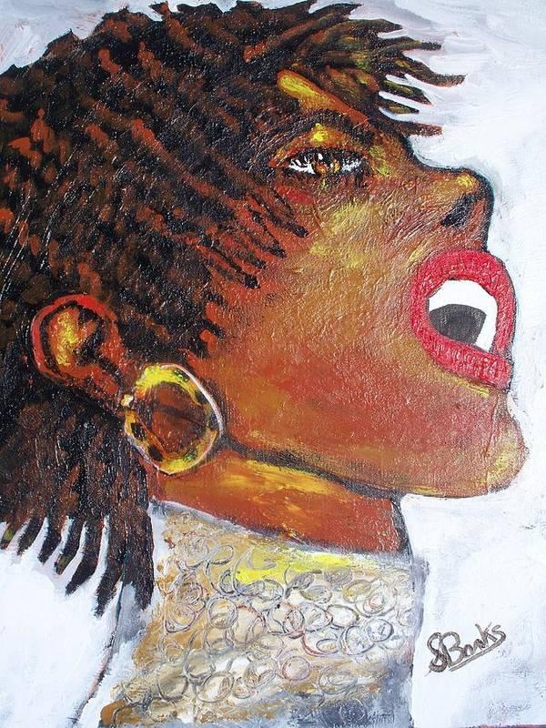 Jazz Singer Print featuring the painting Jazz Singer Jade by Samuel Banks
