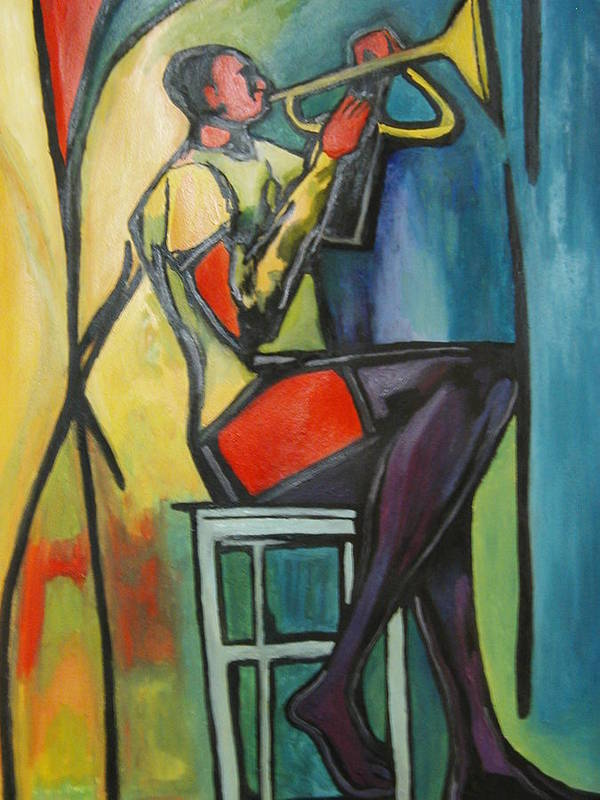 Abstract Art Print featuring the painting Jazz Trumpet Player by Angelo Thomas
