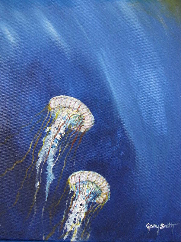 Jellyfish Art Print featuring the painting Jellyfish In Unison by Gary Smith