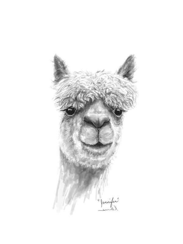 Llama Art Art Print featuring the drawing Jennifer by K Llamas