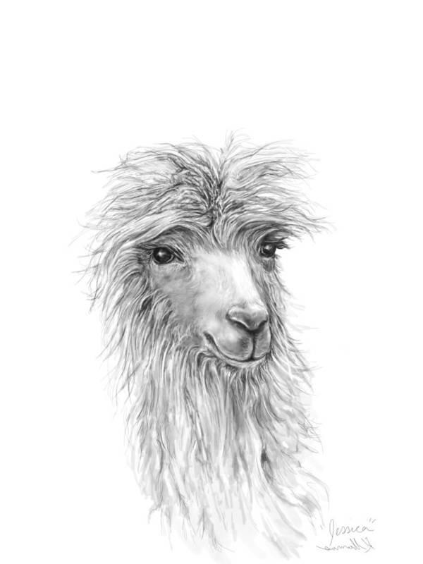 Llama Art Art Print featuring the drawing Jessica by K Llamas