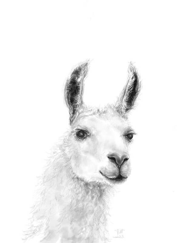 Llama Art Art Print featuring the drawing Jill by K Llamas