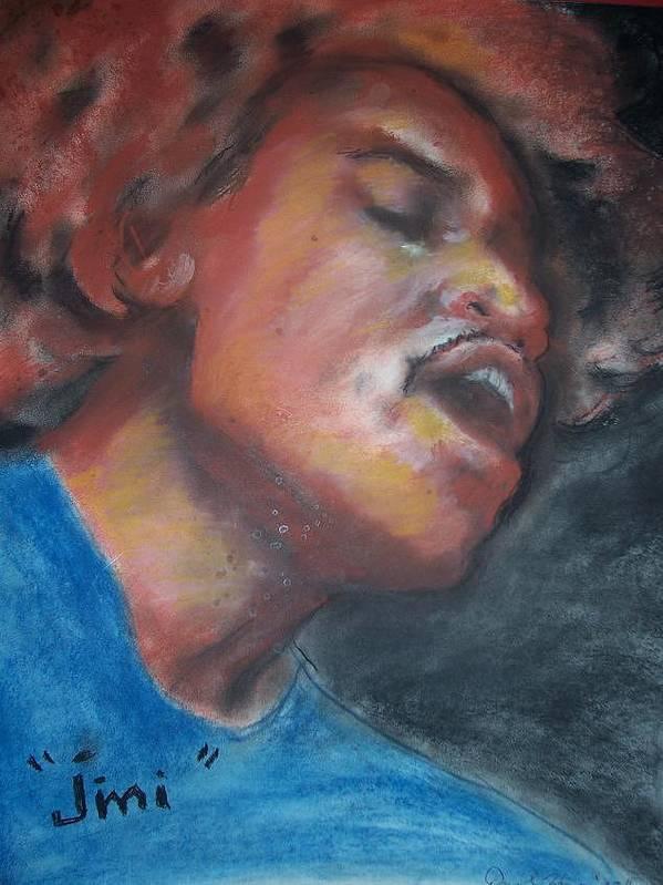 Jimi Hendrix Art Print featuring the print Jimi by Darryl Hines