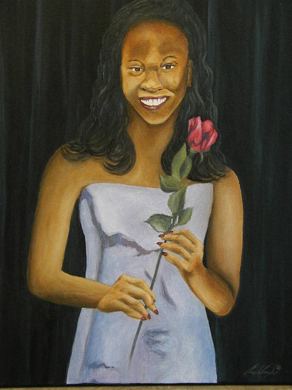 Portrait Art Print featuring the painting Joell by Angelo Thomas