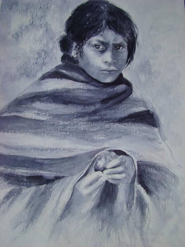 Peru Art Print featuring the painting Juanita by Myra Evans