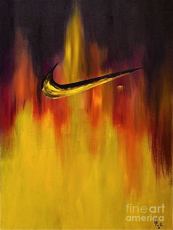 Sports Nike Abstract By Herschel Fall Art Print featuring the painting Just Do It by Herschel Fall