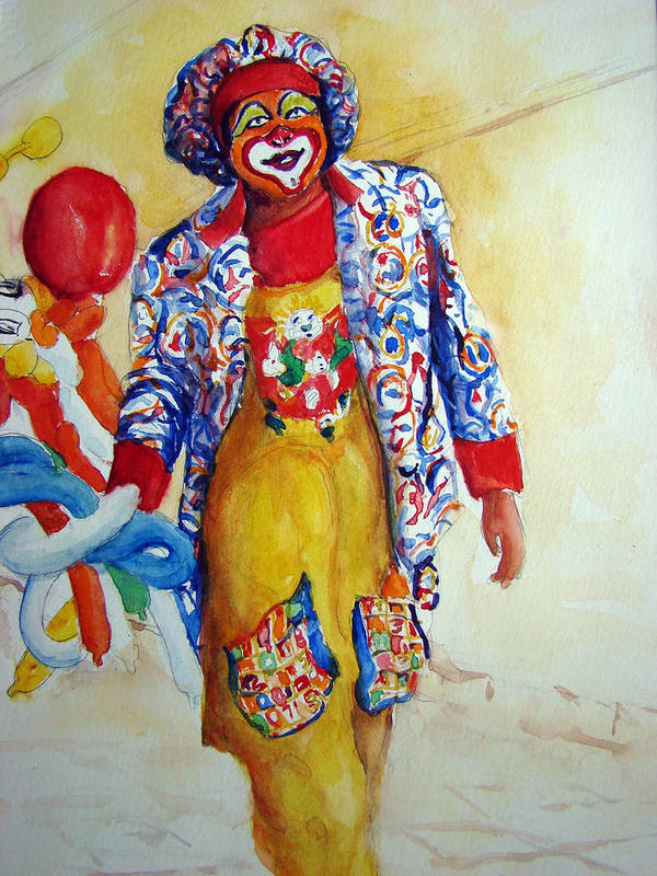 Clown Art Print featuring the painting Just Strolling by Myra Evans