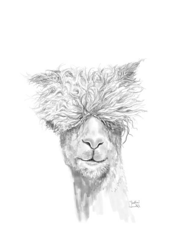 Llama Art Art Print featuring the drawing Justin by K Llamas