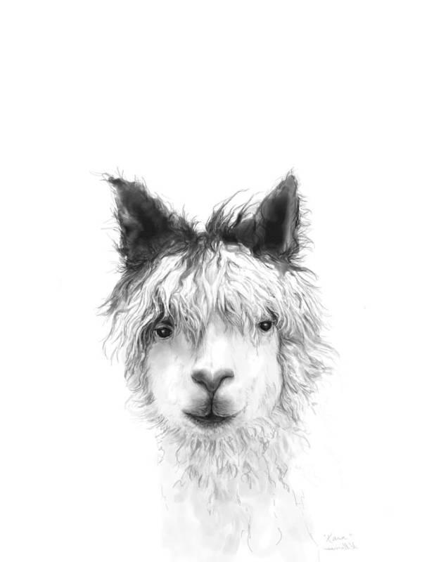 Llama Art Art Print featuring the drawing Kara by K Llamas