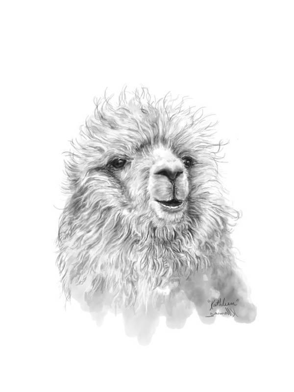 Llama Art Art Print featuring the drawing Kathleen by K Llamas