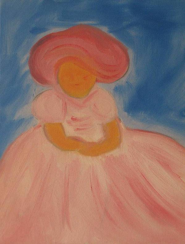 Pink Art Print featuring the painting Katiey-did by Theresa Romano