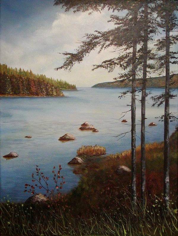 Tamarak Trees Art Print featuring the painting Kellys Mountain by Sharon Steinhaus