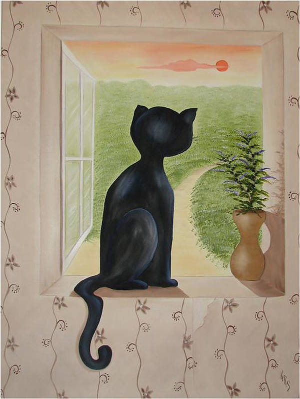 Cat Art Print featuring the painting Kitty In The Window by Karen R Scoville