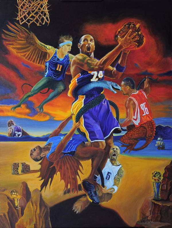 Kobe Bryant Art Print featuring the painting Kobe Defeating The Demons by Luis Antonio Vargas