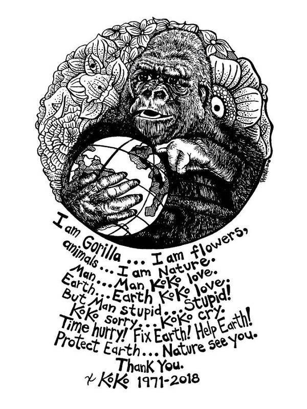 Pen And Ink Art Print featuring the drawing Koko Tribute Drawing by Rick Frausto