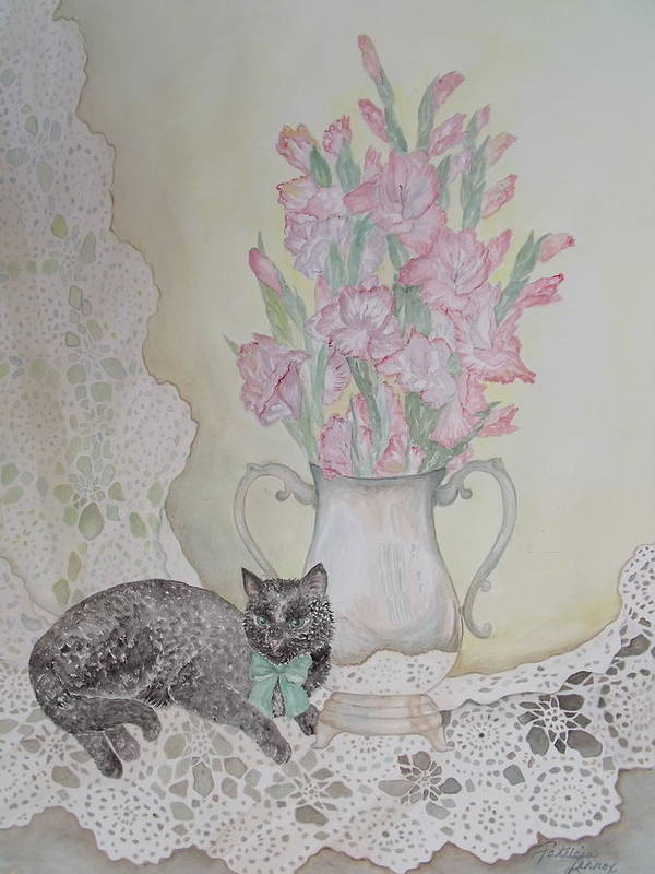Lace Art Print featuring the painting Lace With Stirling Silver by Patti Lennox