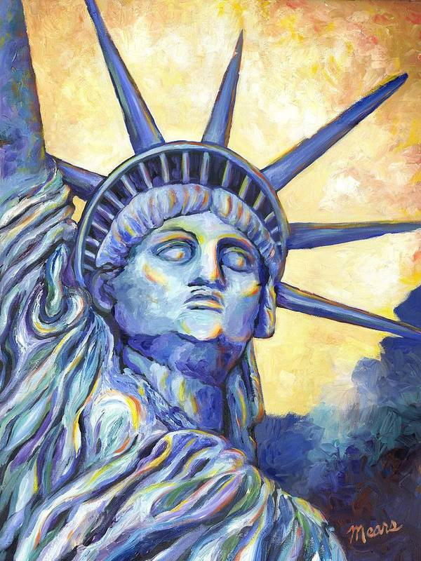 Statue Of Liberty Art Print featuring the painting Lady Liberty by Linda Mears