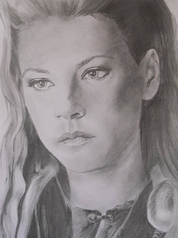 Portrait Art Print featuring the drawing Lagertha by Darren Downes