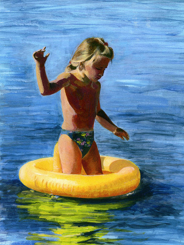 Swim Art Print featuring the painting Learning To Swim by Fiona Jack