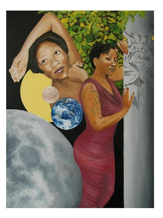 Portrait Art Print featuring the painting Leo Queen Tiffany by Angelo Thomas