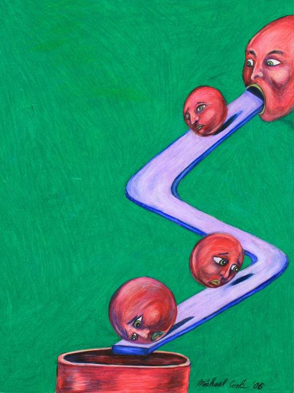 Surreal Rolling Heads Art Print featuring the drawing Let's Roll by Michael Cook