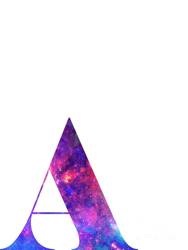 Letter Art Print.Letter A Galaxy In White Background Art Print