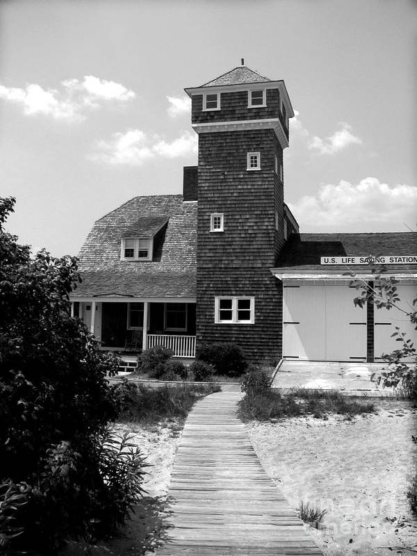 Sandy Hook Art Print featuring the photograph Life Saving Station by Colleen Kammerer