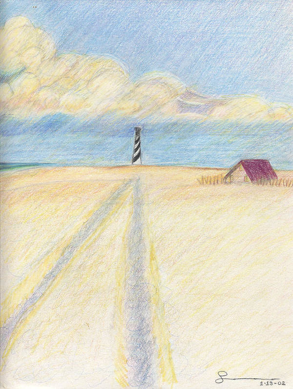Lighthouse Art Print featuring the drawing Lighthouse by Harriet Emerson