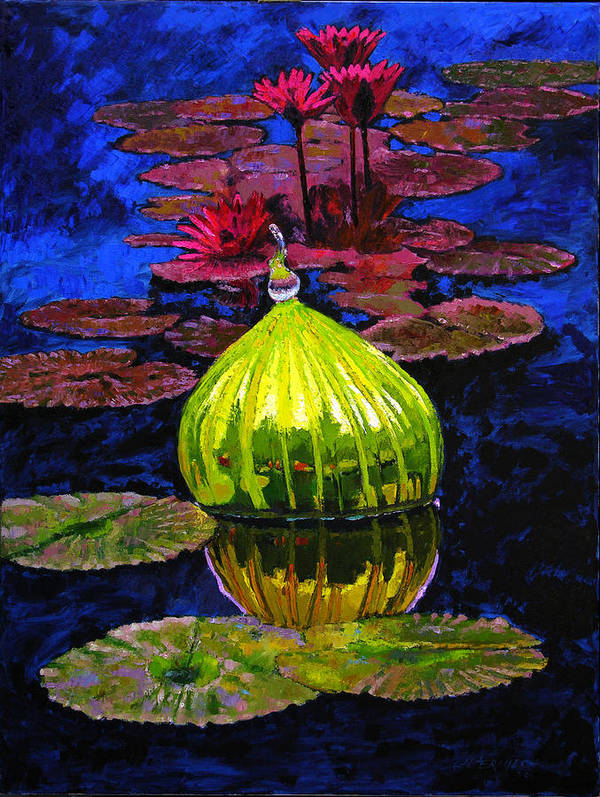 Blown Glass Art Print featuring the painting Lilies And Glass Reflections by John Lautermilch