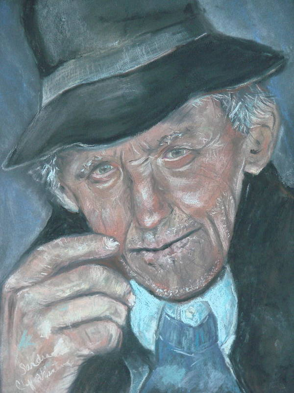 Portrait Art Print featuring the pastel Lines Of Age by Sandra Valentini