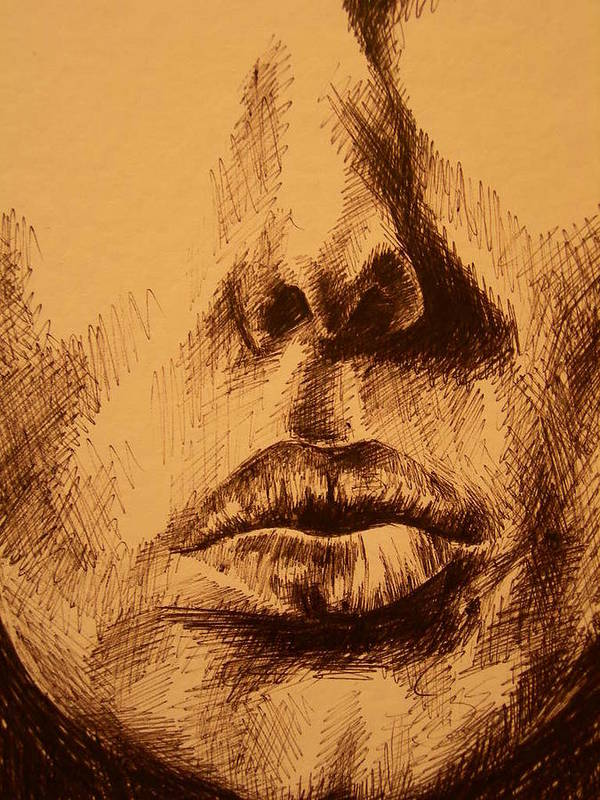 Portrait Art Print featuring the drawing Lips Are Beautiful by J Oriel