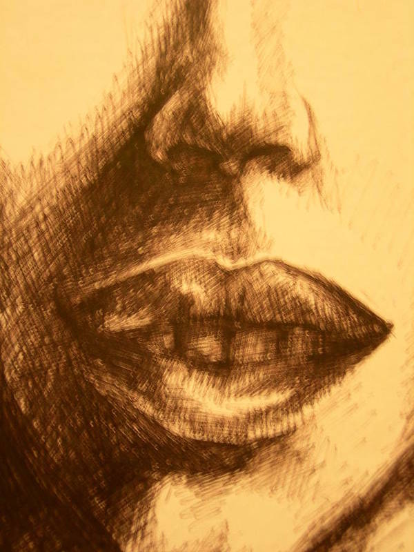 Lips Art Print featuring the drawing Lips by J Oriel