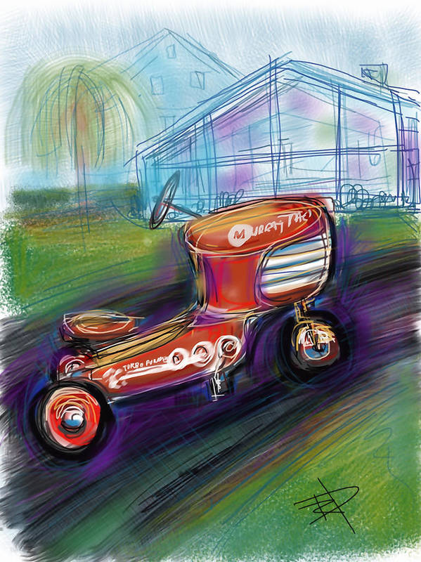 Toy Art Print featuring the digital art Little Tractor by Russell Pierce