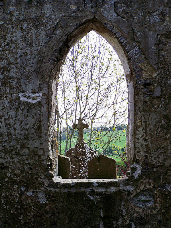 Ireland Art Print featuring the photograph Looking Out Fuerty Church Roscommon Ireland by Teresa Mucha