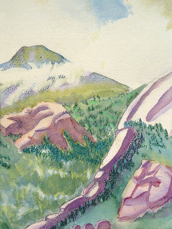 Mountains Art Print featuring the painting Lost Creek by D T LaVercombe