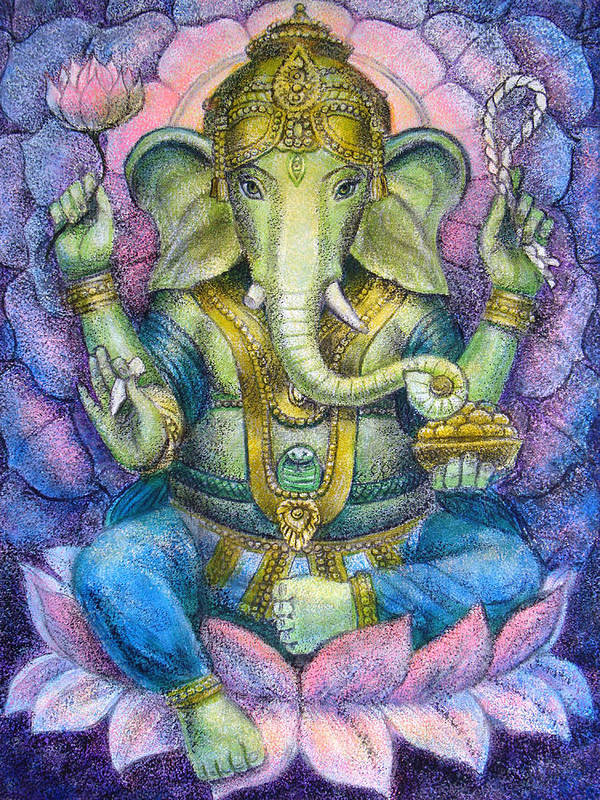 Lord Ganesha Art Print featuring the painting Lotus Ganesha by Sue Halstenberg