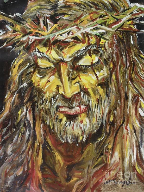Jesus Art Print featuring the painting Love by Joseph Palotas