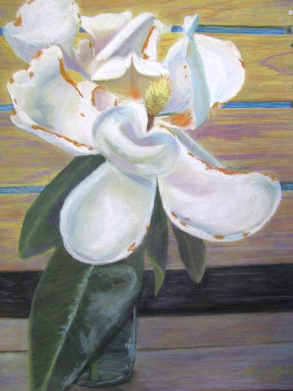 Flowers Art Print featuring the painting Magnolia by Gloria Byler