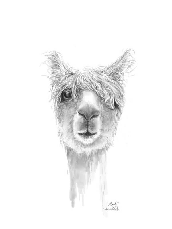 Llama Art Art Print featuring the drawing Mark by K Llamas