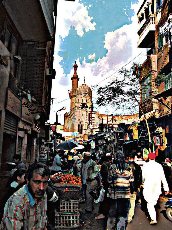 Medieval Cairo Art Print featuring the digital art Market by Noredin Morgan