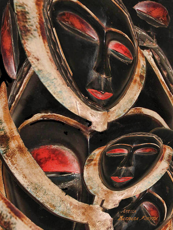 Black Mask Art Print featuring the painting Masks Of Africa by Barbara Fontes