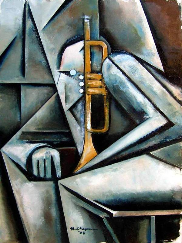 Jazz Trumpet Miles Davis Art Print featuring the painting Masqualero by Martel Chapman
