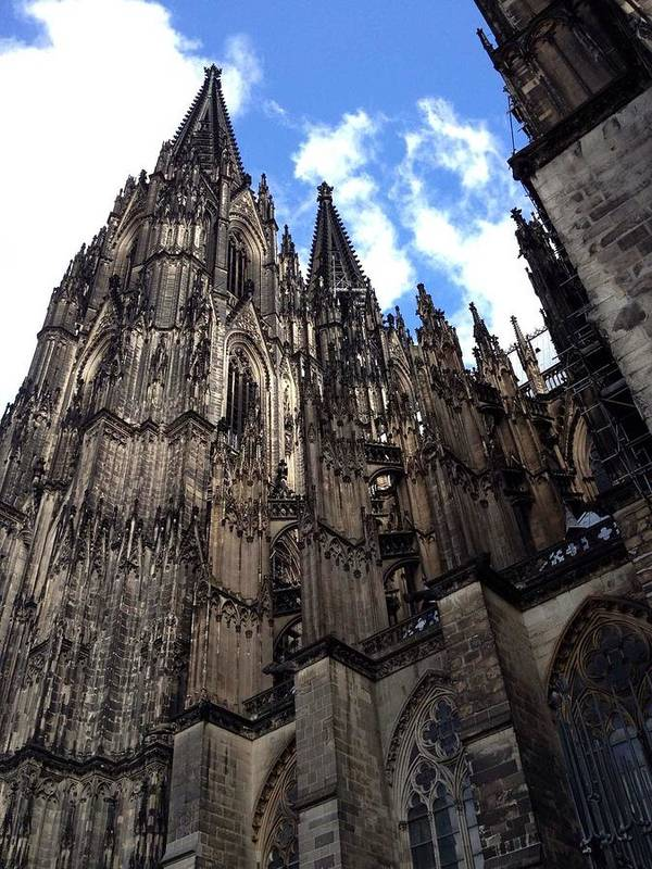 Stately Cathedral Massive Stone Carvings Germany France Switzerland Art Print featuring the photograph Massive by Sherry Canterbury Schmidt