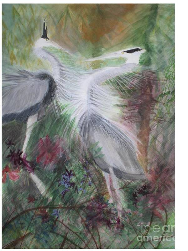 Birds Art Print featuring the painting Match To Mate by Hal Newhouser