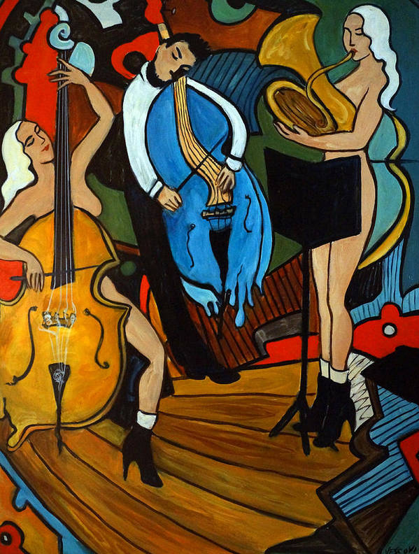 Musician Abstract Art Print featuring the painting Melting Jazz by Valerie Vescovi