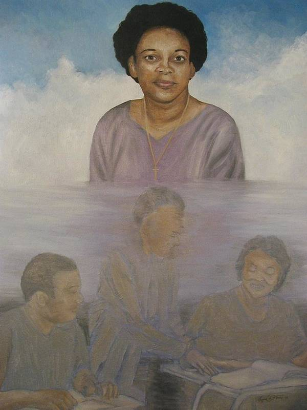Portrait Art Print featuring the painting Memorial To Ms. Calvin by Angelo Thomas