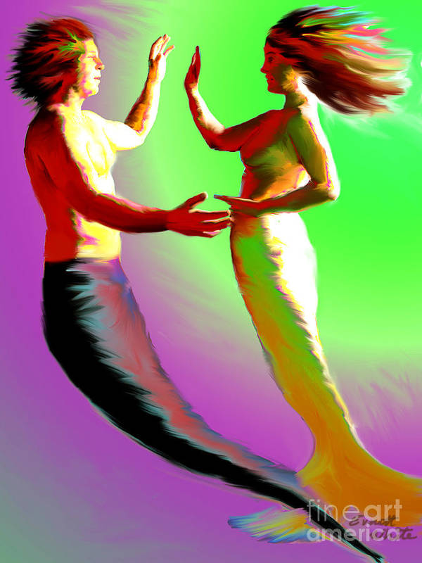 Mermaid Art Print featuring the painting Mermaid Dance by Everett White