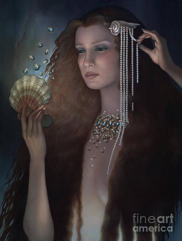 Mermaid Art Print featuring the painting Mermaid by Jane Whiting Chrzanoska