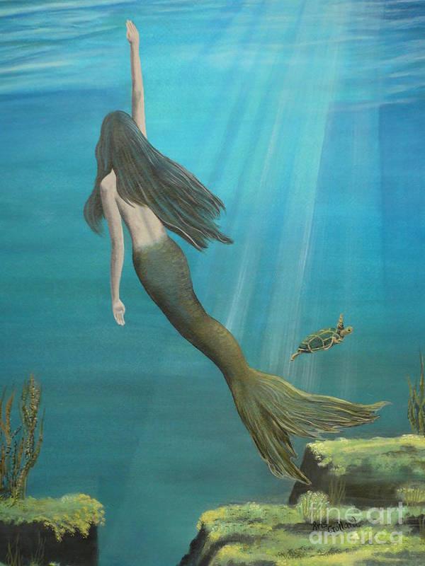 Mermaid Art Print featuring the painting Mermaid Of Weeki Wachee by Kris Crollard
