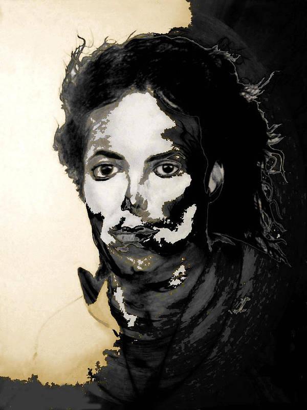 Michael Jackson Art Print featuring the digital art Michael J by LeeAnn Alexander